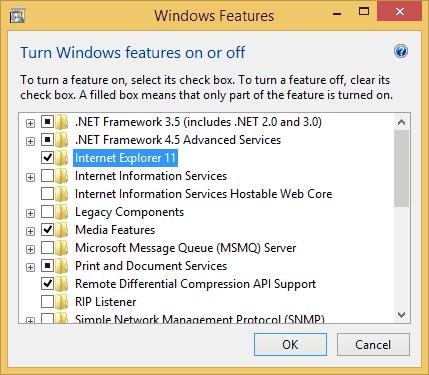 Como desinstalar o Internet Explorer 11