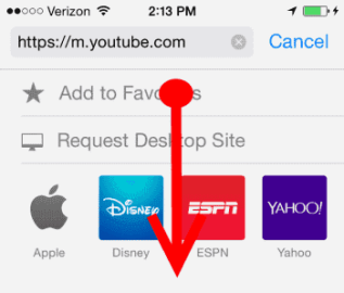 iOS YouTube Address Bar Swipe