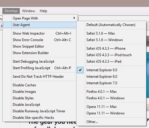 Safari User Agent String setting