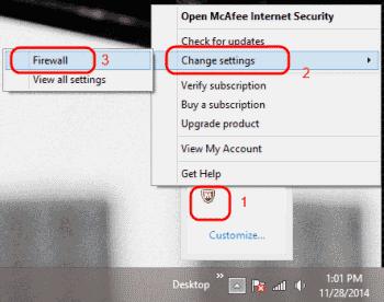 Open McAfee Firewall Settings