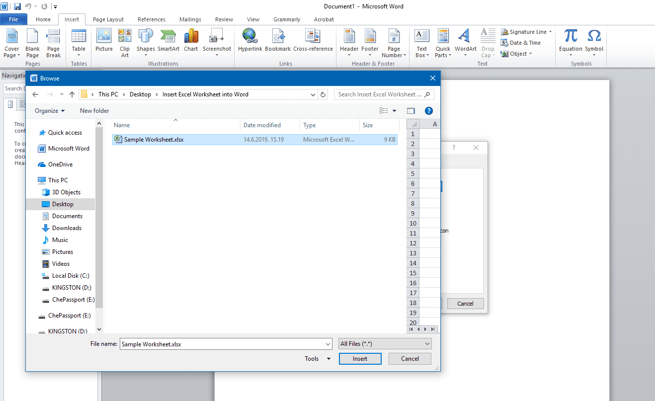 Word Embed Excel Spreadsheet