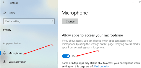 allow apps to access microphone windows 10