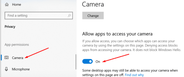 camera privacy settings