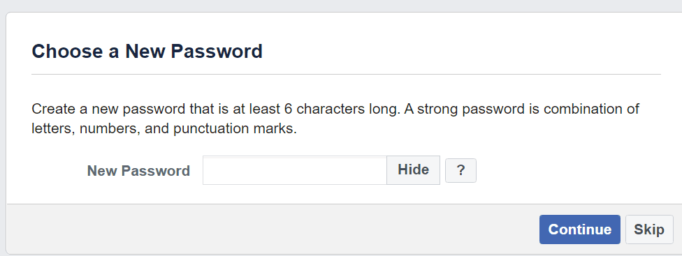 create a new facebook password