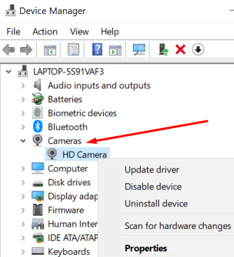 device manager camera drivers