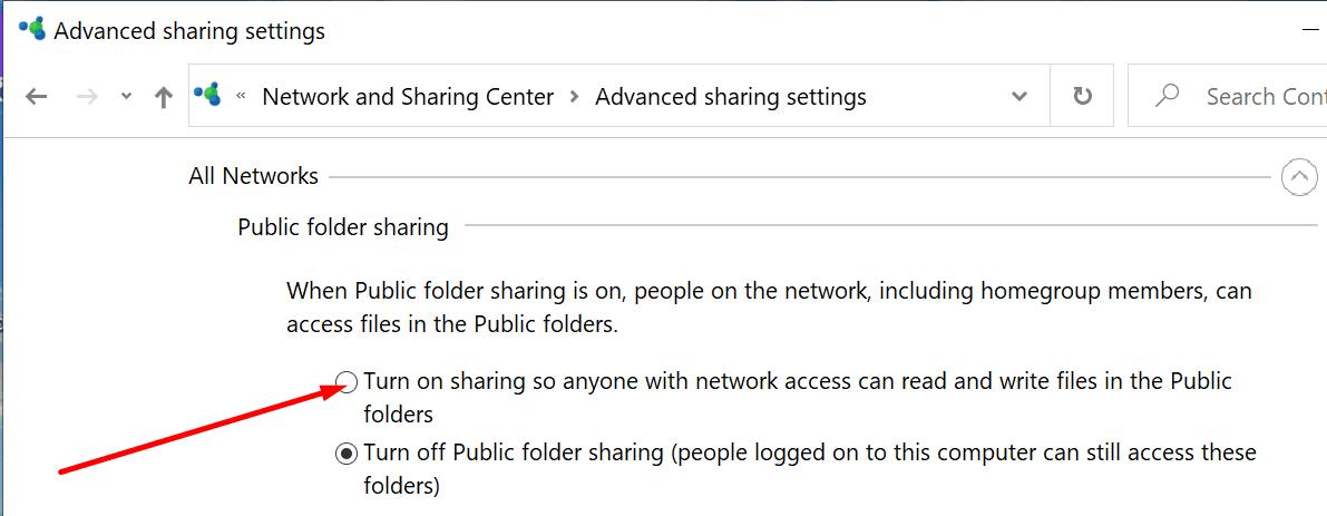 enable public folder sharing