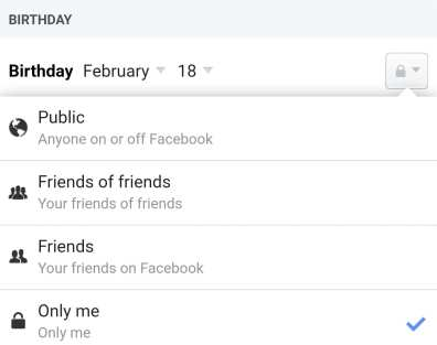 facebook show birthday only to me