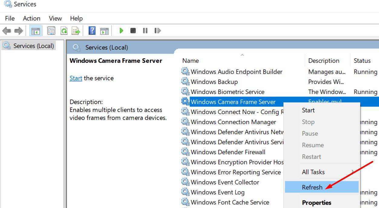 refresh windows camera frame server service