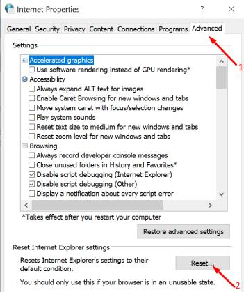 reset internet options windows 10
