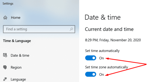 set date time automatically windows 10
