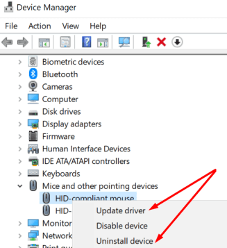 update reinstall mouse driver