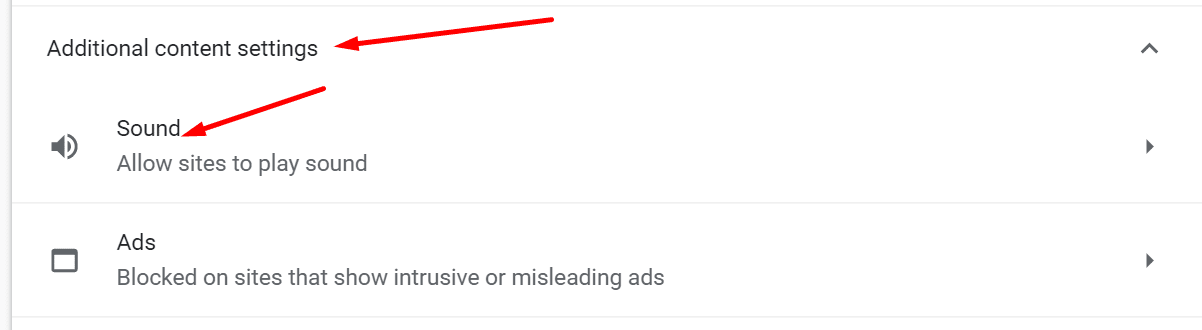 chrome additional content settings