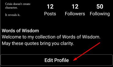edit profile instagram