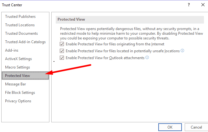 excel protected view settings