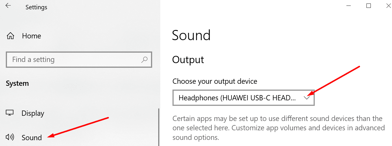 set headphones windows 10 default output device
