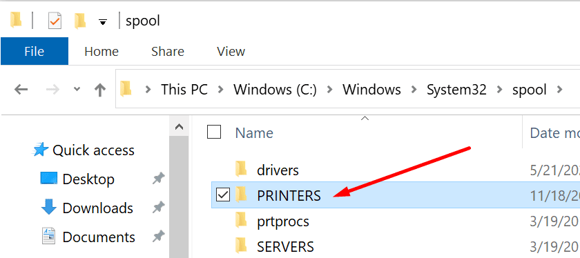 spool printers folder windows 10