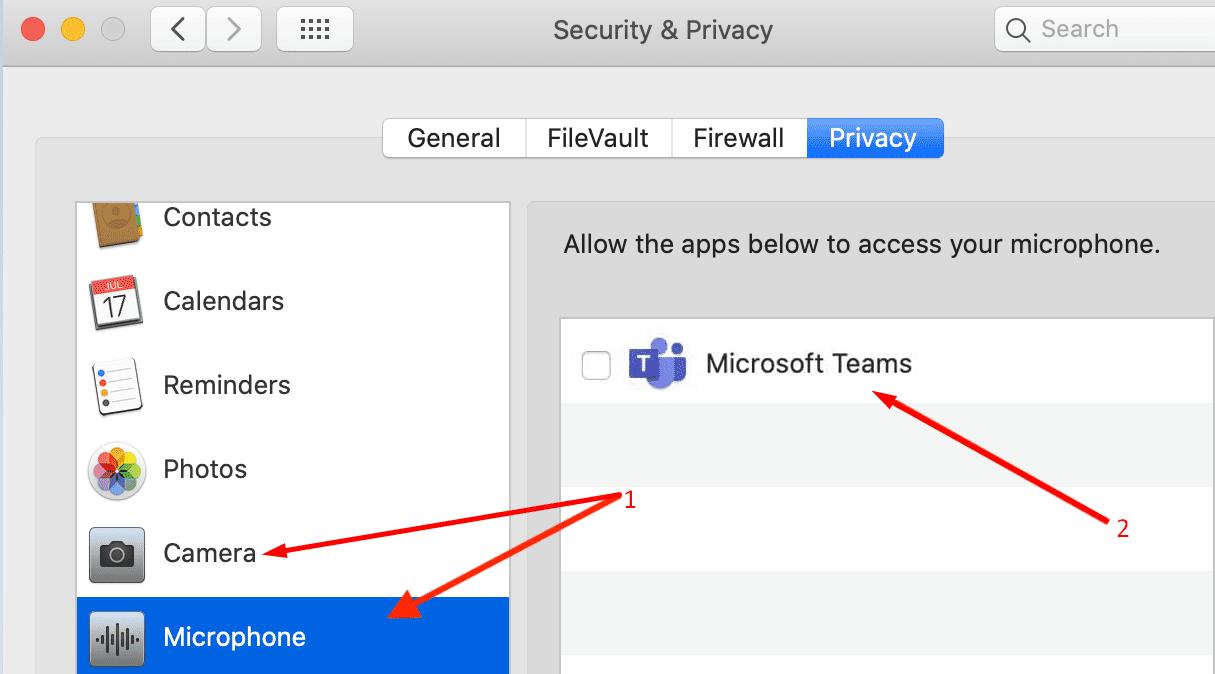 mac privacy settings microsoft teams