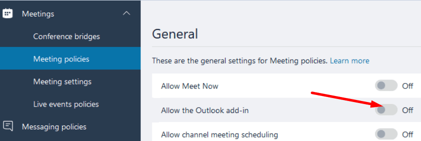 allow the outlook add-in meeting policies microsoft teams