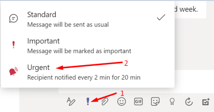 send urgent messages microsoft teams
