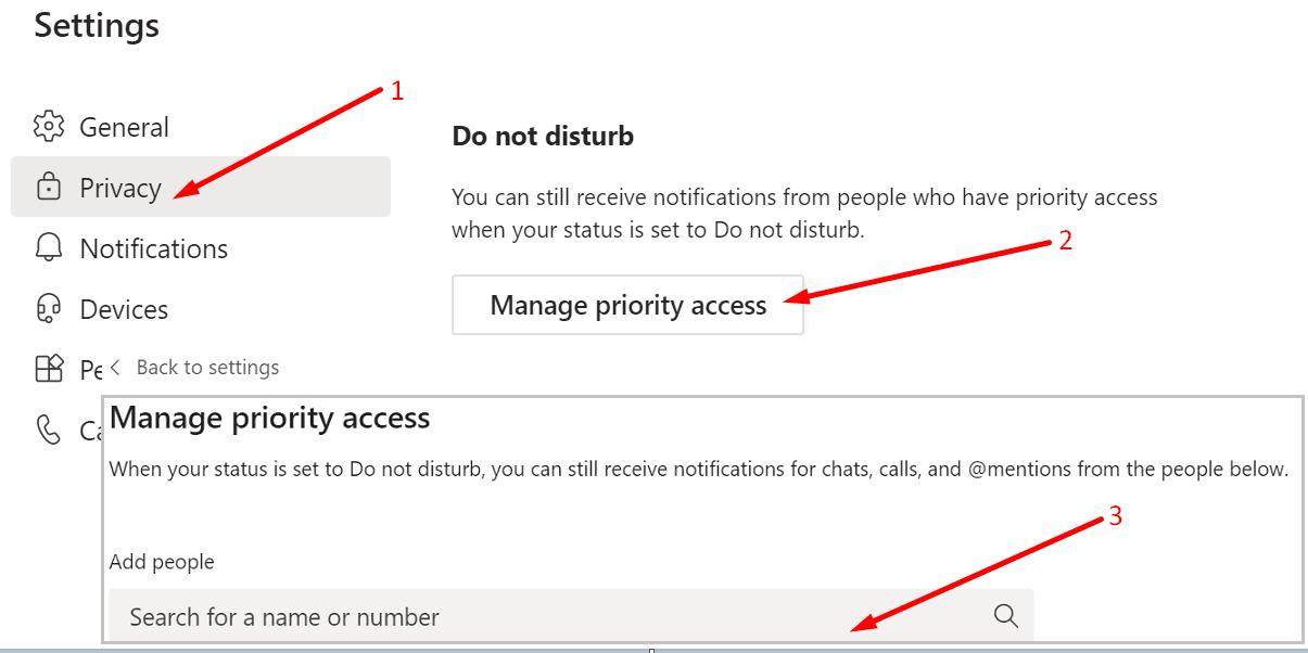 teams do not disturb settings