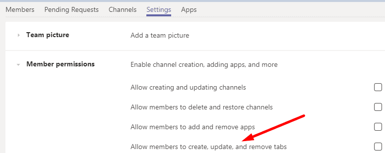 Allow member to create, update and remove tabs
