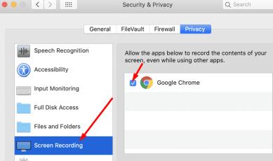 allow screen recording google chrome macOS