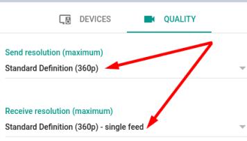 google meet Standard definition video