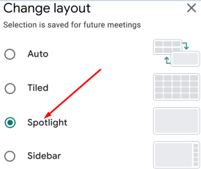 google meet enable spotlight