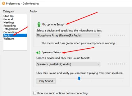gotomeeting audio settings
