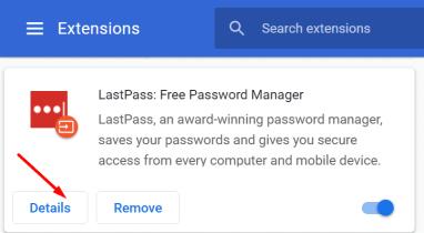 lastpass extensions details button chrome