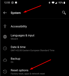 oneplus reset options