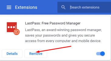 remove lastpass extension from browser