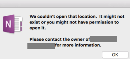 error onenote we couldn't open that location