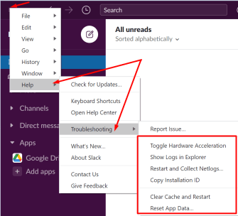 slack troubleshooting options