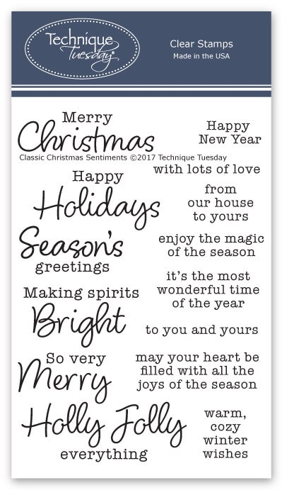 Classic Christmas Sentiments Clear Stamp Set Technique