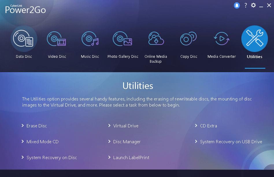 Cyberlink Power2Go interface