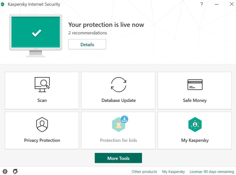 Kaspersky Internet Security 2020 -Main Interface