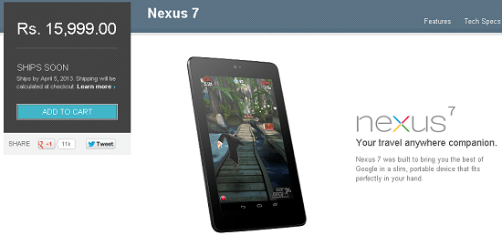 Nexus 7 Officially Available in India