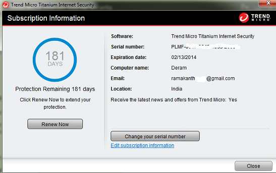 Trend Micro Titanium Internet Security serial number