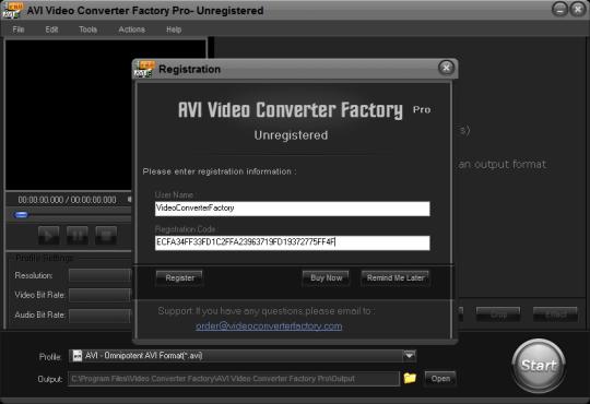 AVI Video Converter Factory Pro license