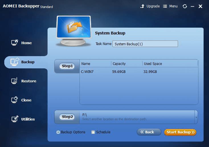 AOMEI Backupper system backup