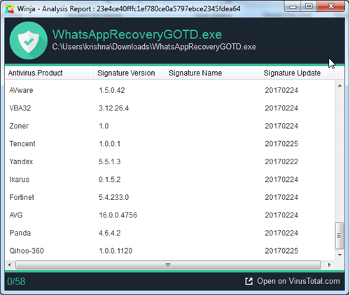 WhatsApp Recovery virus check
