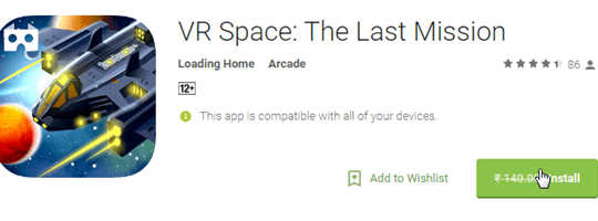 VR Space: The Last Mission Android Game Free instead of $2