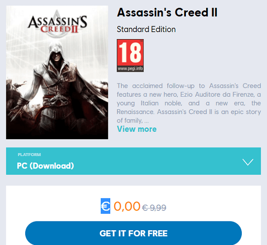Assassin's Creed 2 Game Giveaway