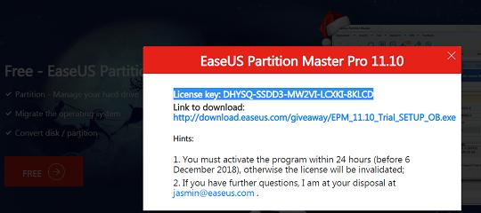 EaseUS Partition Master Pro 11.10