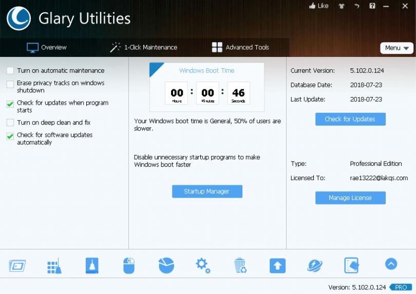 Glary Utilities Pro 5.10 Interface