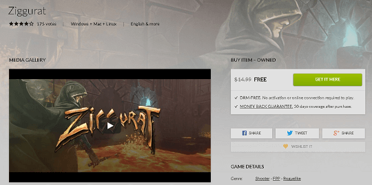 Ziggurat FPS Game Free on GoG [[Win, Mac & Linux]