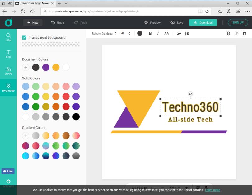 DesignEvo - techno360 logo
