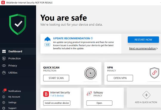 Bitdefender Internet Security 2019 Interface