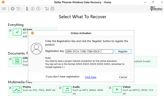 stellar phoenix windows data recovery home activation key